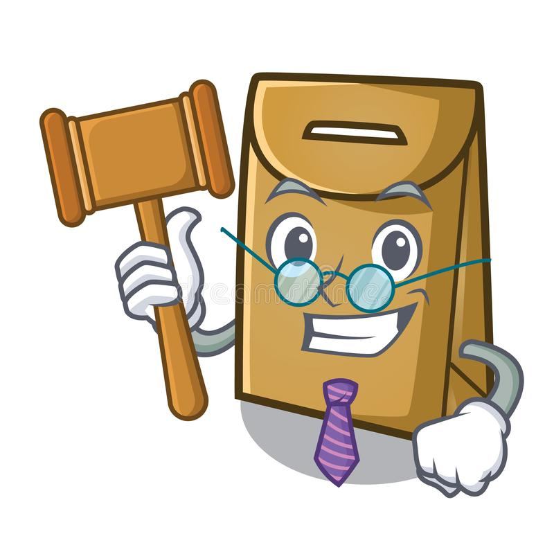 Judge paper bag above the mascot chair royalty free illustration