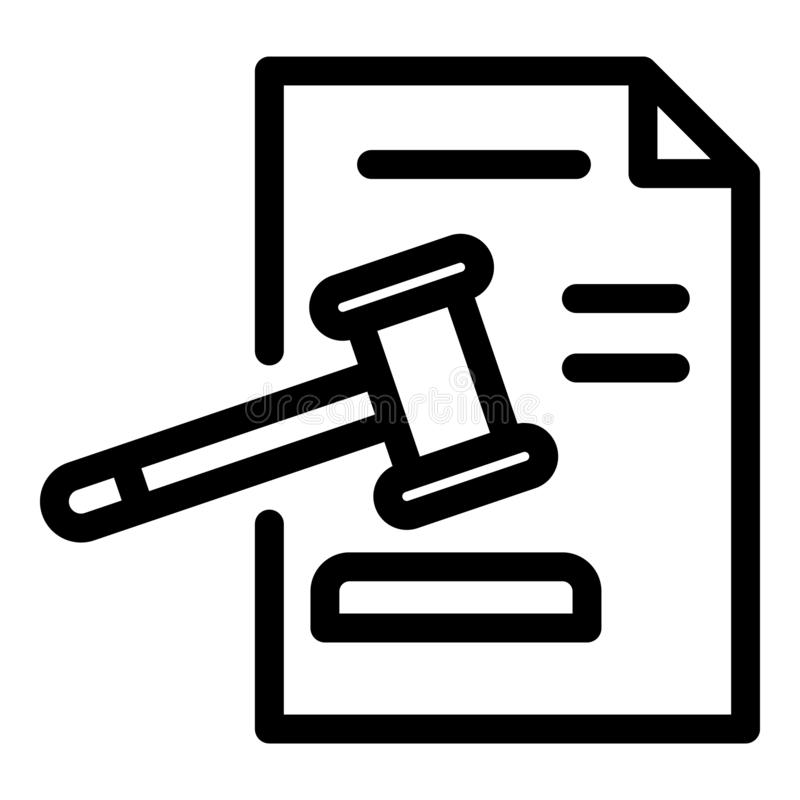 Judge paper decision icon, outline style royalty free illustration