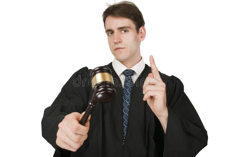 Judge raising the index finger on white royalty free stock photo