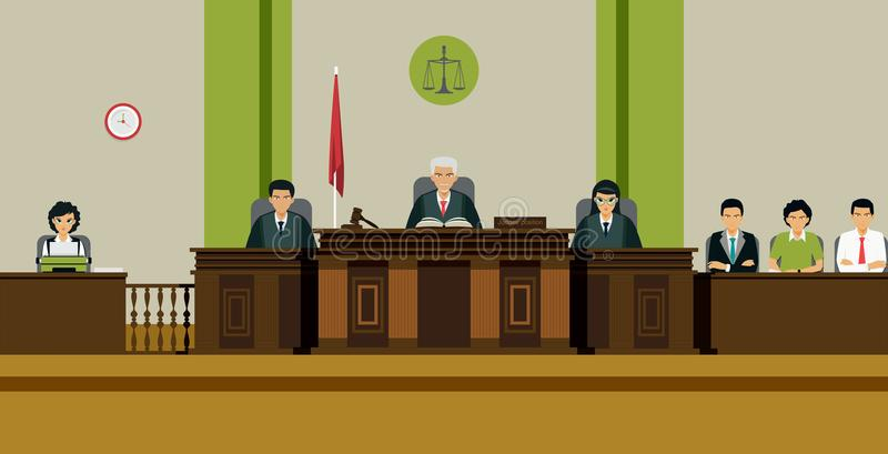 Judge Room. The judge and the jury sit on the throne in the courtroom royalty free illustration