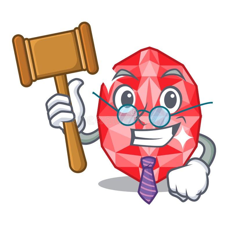 Judge ruby gems in the mascot shape. Vector illustration royalty free illustration