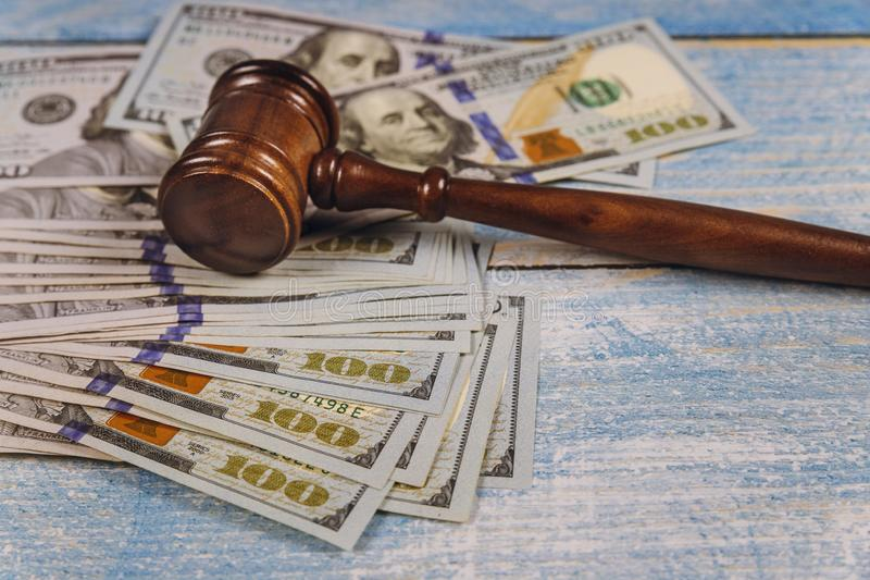 Judge& x27;s gavel, banknotes of American dollars on the business, finance corruption money financial crime royalty free stock photography