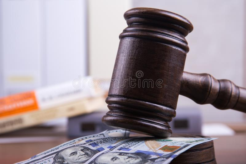 Judge`s gavel, bills of american dollars as concept business, finance corruption, cash deposit. stock image