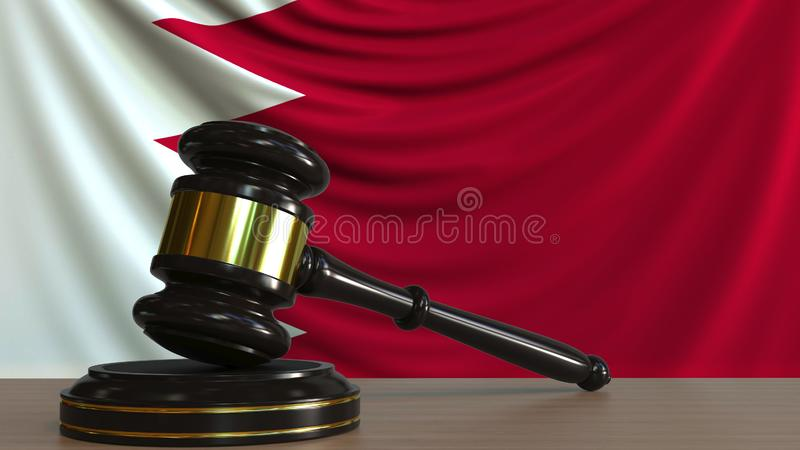 Judge`s gavel and block against the flag of Bahrain. Bahraini court conceptual 3D rendering. Judge`s gavel and block against the flag. Court conceptual 3D royalty free illustration
