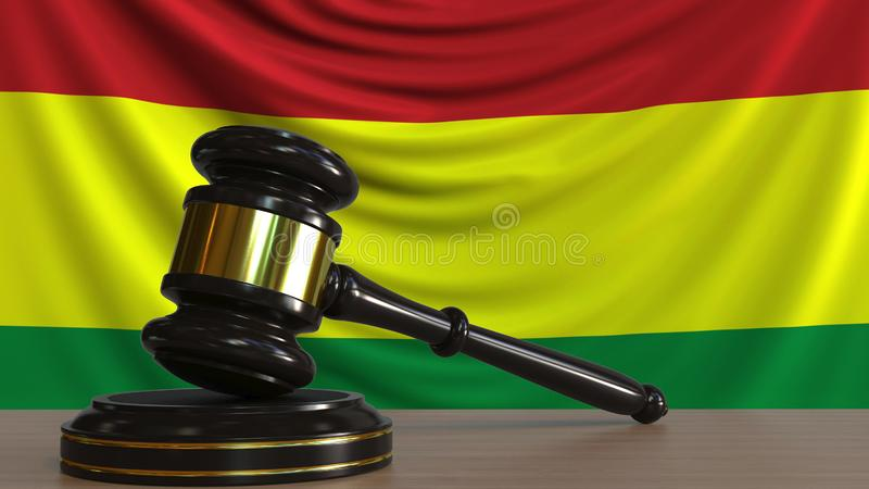 Judge`s gavel and block against the flag of Bolivia. Bolivian court conceptual 3D rendering. Judge`s gavel and block against the flag. Court conceptual 3D stock illustration