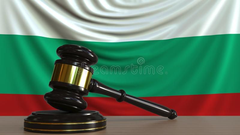 Judge`s gavel and block against the flag of Bulgaria. Bulgarian court conceptual 3D rendering. Judge`s gavel and block against the flag. Court conceptual 3D royalty free illustration