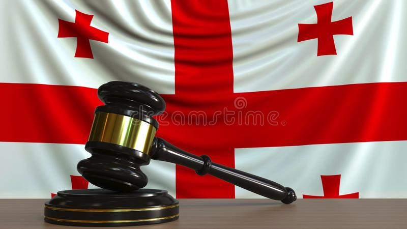 Judge`s gavel and block against the flag of Georgia. Georgian court conceptual 3D rendering. Judge`s gavel and block against the flag. Court conceptual 3D stock illustration
