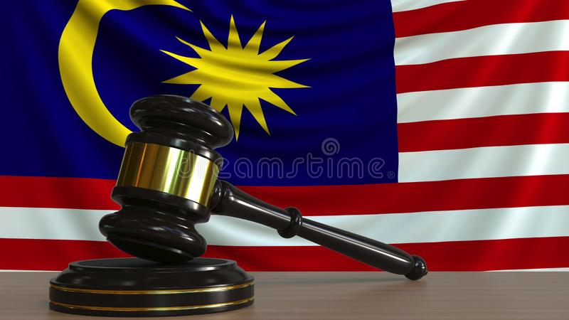 Judge`s gavel and block against the flag of Malaysia. Malaysian court conceptual 3D rendering. Judge`s gavel and block against the flag. Court conceptual 3D vector illustration
