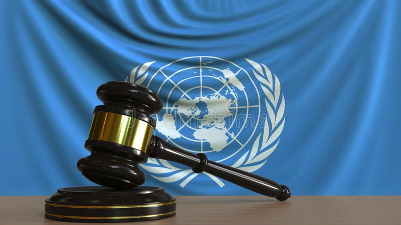 Judge`s gavel and block against the flag of the United Nations. Court conceptual editorial 3D rendering. Judge`s gavel and block against the flag. Court stock image