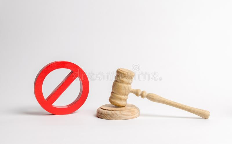 Judge`s gavel and NO symbol. The concept of prohibiting and restrictive laws. Prohibitions and criminalization, repression. Restriction of freedoms and rights royalty free stock photography