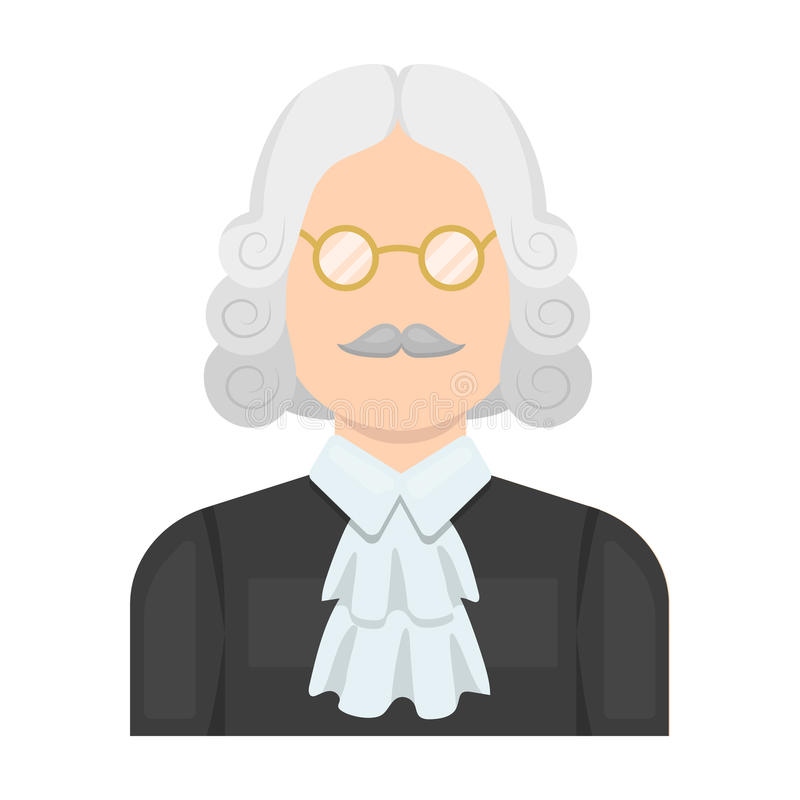 A judge in a wig and glasses. A person who makes a verdict to a criminal.Prison single icon in cartoon style vector. Symbol stock web illustration stock illustration
