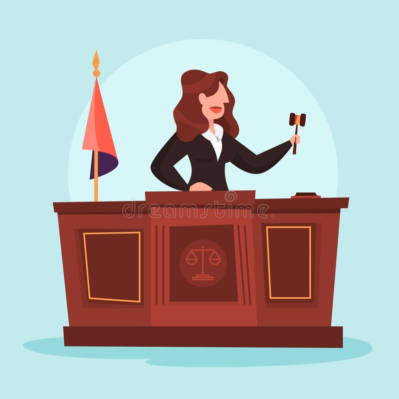 Judge woman in the courtroom. Female character in uniform. Law and justice profession. Lady holding gavel. Vector illustration in cartoon style vector illustration
