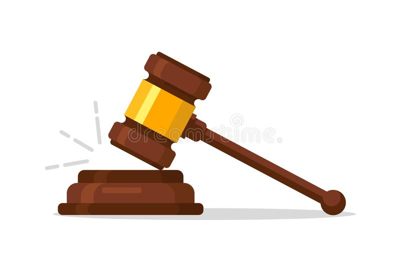 Judge Wood Hammer auction, judgment. Wooden judge ceremonial hammer of the chairman with curly handle, for adjudication. Of sentences and bills, court, justice royalty free illustration