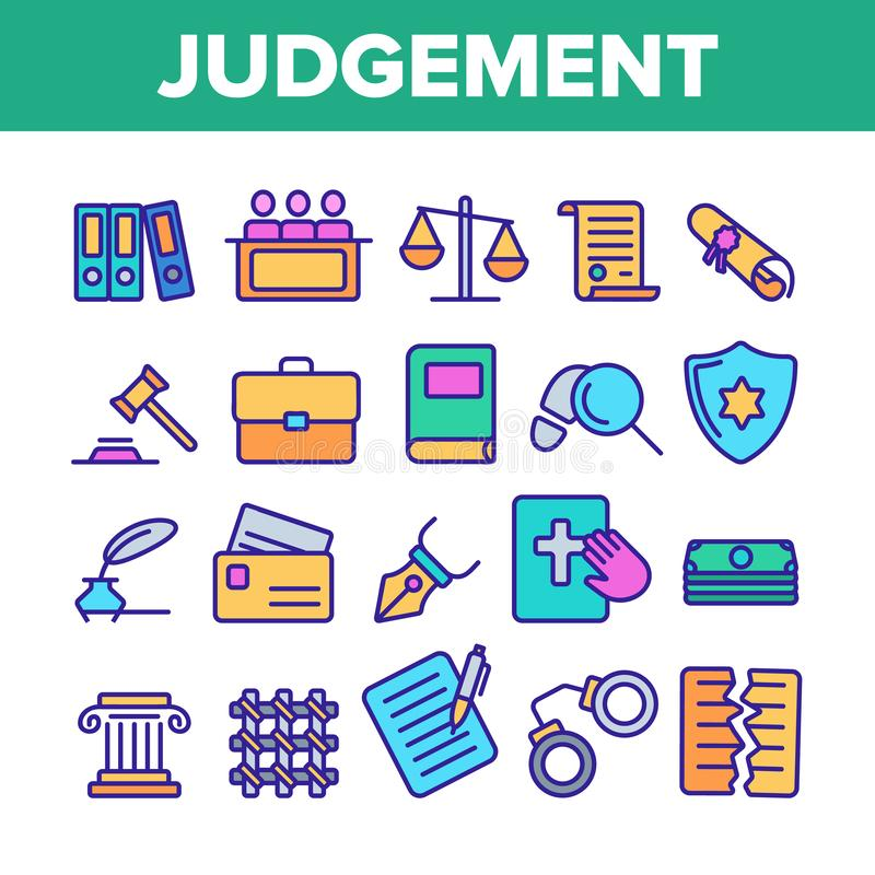 Judgement, Court Process Vector Color Line Icons Set. Judgement, Court Process Vector Thin Line Icons Set. Judgement, Trial Procedure Linear Pictograms. Legal royalty free illustration