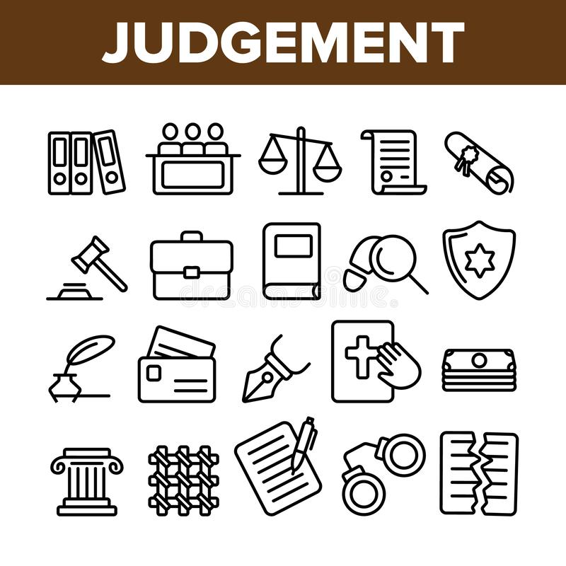 Judgement, Court Process Vector Thin Line Icons Set stock illustration