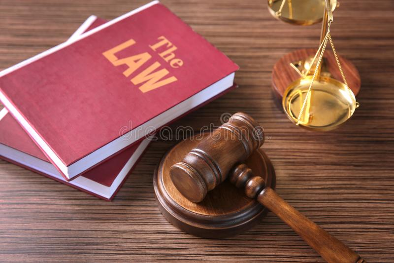 Judges gavel and law books on table royalty free stock photo