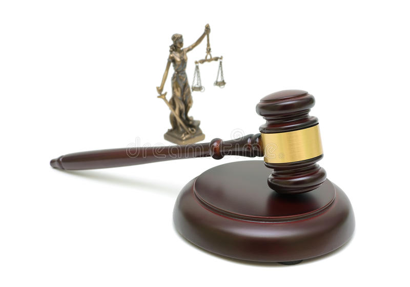 Judges Gavel And The Statue Of Justice On White Background ...