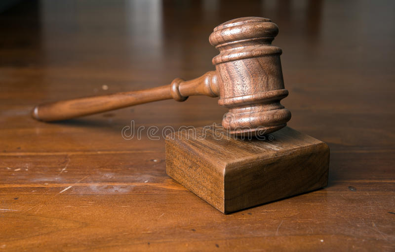 Judges gavel on table royalty free stock images