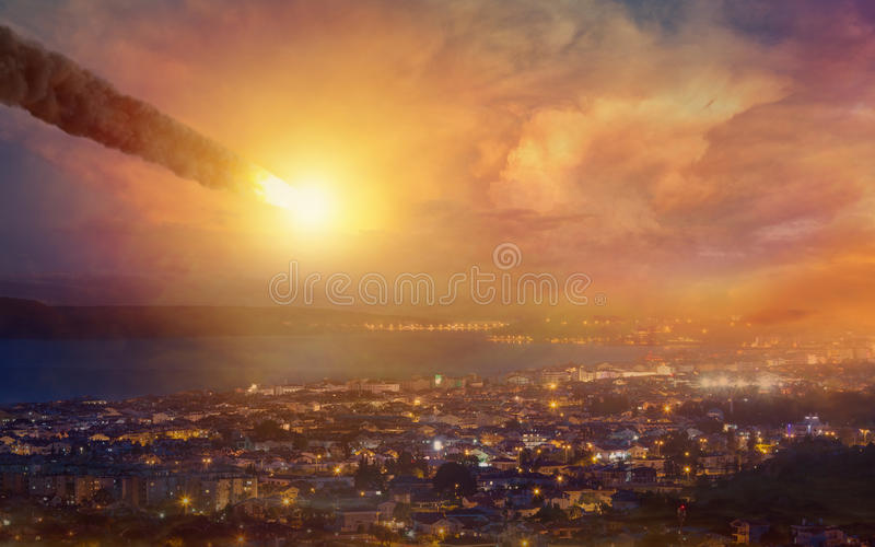 Judgment day, end of world, asteroid impact royalty free stock photography