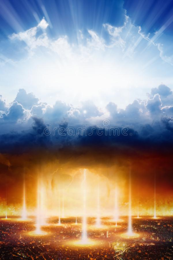 Judgment day, heaven and hell, good and evil, light and darkness stock image