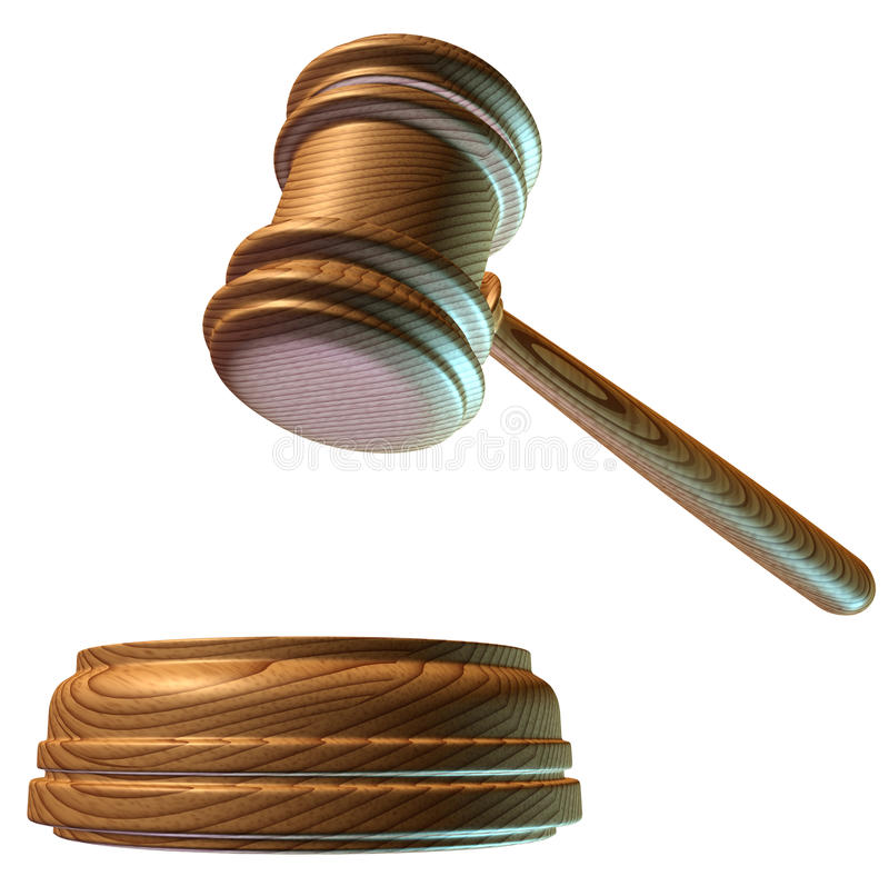 Judgment mallet. Judge mallet renders judgement in a court of law (clipping path included royalty free illustration