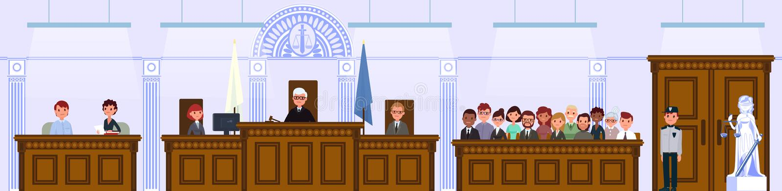 Judical court interior. The judge and the jury are sitting in the courtroom. royalty free illustration