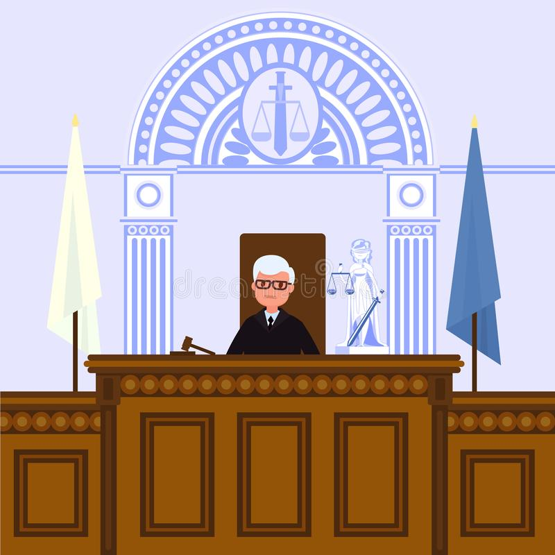 Judical court interior. The judge is sitting in the courtroom. Vector illustration in flat style royalty free illustration