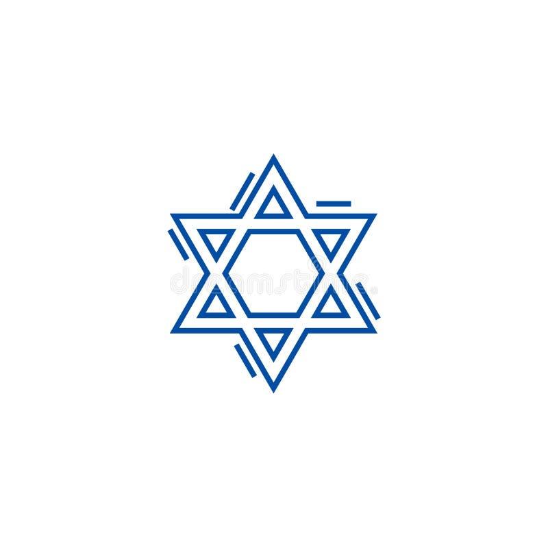 Judisk david stjärnalinje symbolsbegrepp Symbol för vektor för judisk david stjärna plant, tecken, översiktsillustration royaltyfri illustrationer
