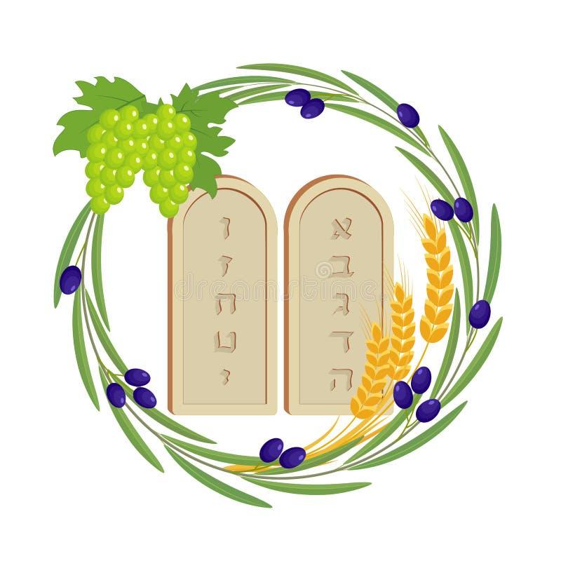 Judisk ferie av Shavuot, minnestavlor av stenen royaltyfri illustrationer