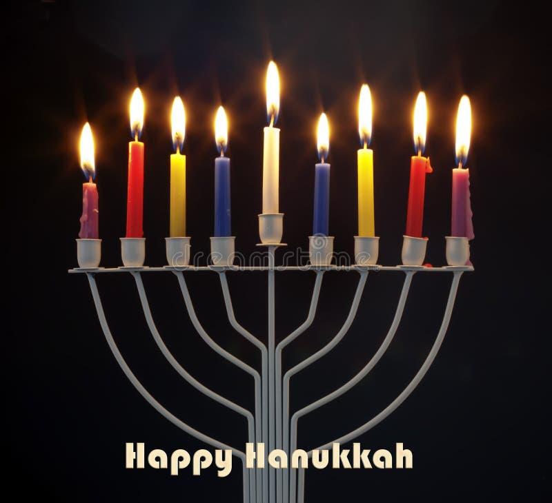 Judisk ferie för lycklig Chanukkah Traditionella kandelaber för menoror royaltyfri bild