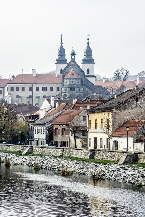 Judisk fjärdedel och chateau, Trebic, Tjeckien arkivfoton