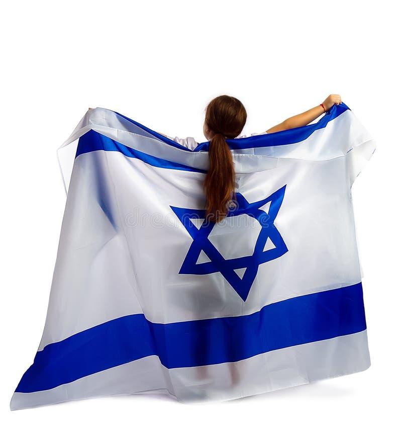 Judisk flicka med en flagga royaltyfri foto