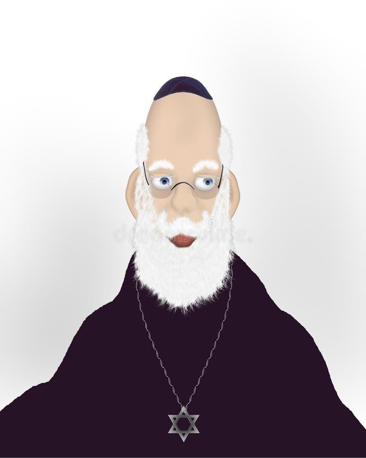 judisk gammal rabbin för framsida royaltyfri illustrationer
