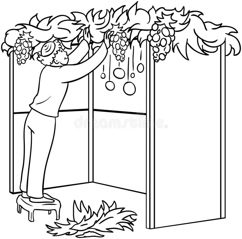 Judisk Guy Builds Sukkah For Sukkot färgläggningsida vektor illustrationer