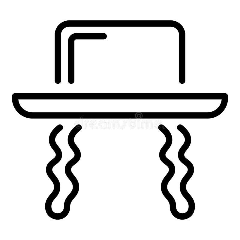 Judisk hattsymbol, översiktsstil stock illustrationer