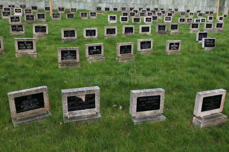 Judisk kyrkogård i Terezin, Tjeckien royaltyfri foto
