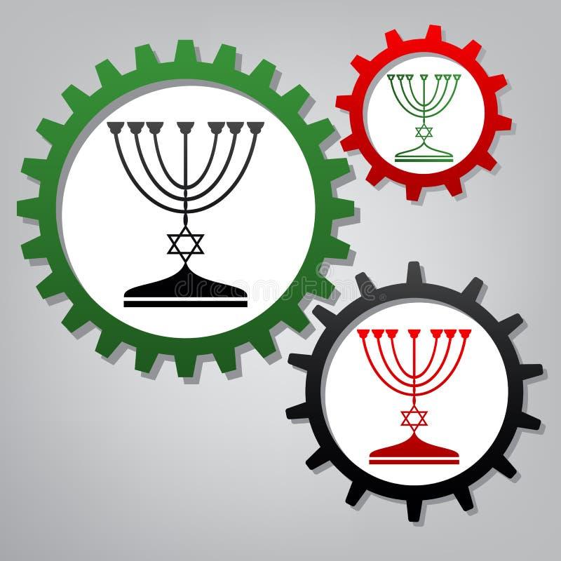 Judisk menoraljusstake i svart kontur vektor Tre Co royaltyfri illustrationer