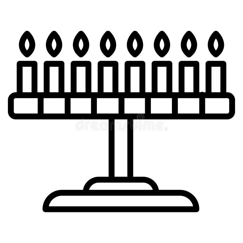 Judisk ställningssymbol för stearinljus, översiktsstil stock illustrationer