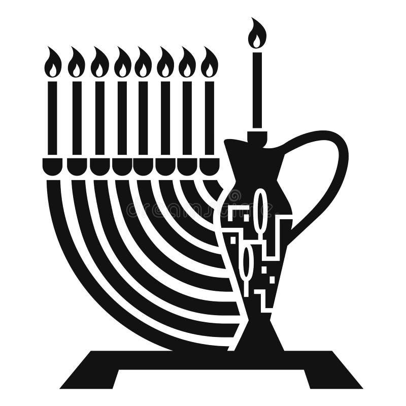 Judisk symbol för för stearinljuspinne och tillbringare, enkel stil stock illustrationer