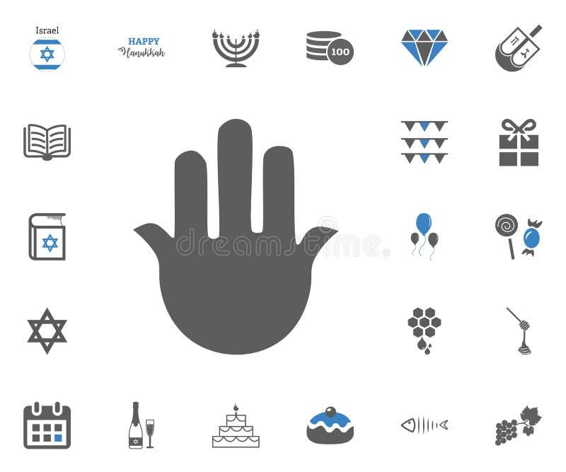 Judisk uppsättning för ferieChanukkahsymboler också vektor för coreldrawillustration royaltyfri illustrationer