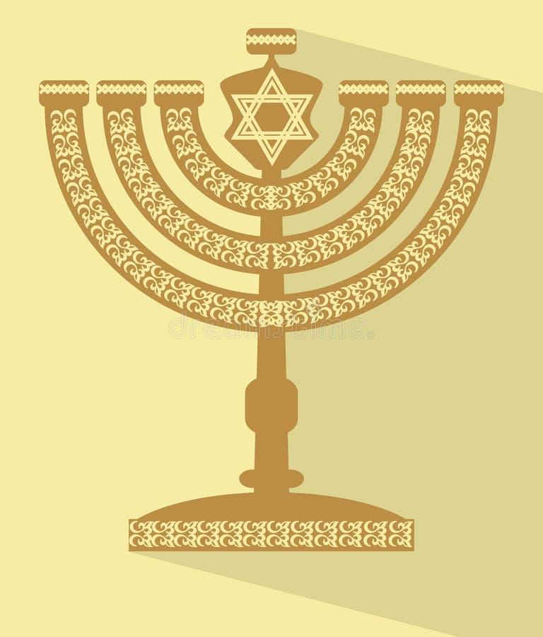 Judiska sju-förgrena sig kandelabermenoror med davidsstjärnan, illustration för lägenhetdesignvektor med lång skugga vektor illustrationer