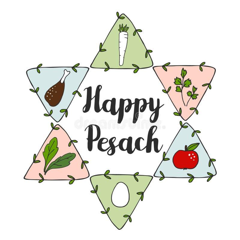 Judiskt kort för Pesach påskhögtidhälsning med sederklottersymboler och judisk stjärna, vektor illustrationer