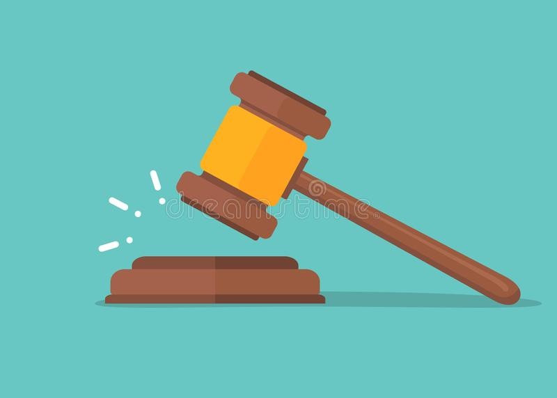 Judje hammer icon law gavel. Auction court hammer bid authority concept symbol.  vector illustration