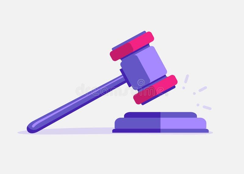 Judje hammer icon law gavel. Auction court hammer bid authority concept symbol.  stock illustration