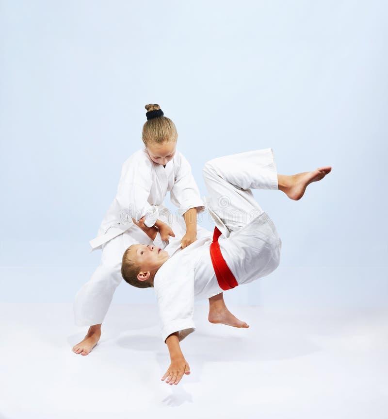 Judo athletes are training throws royalty free stock image