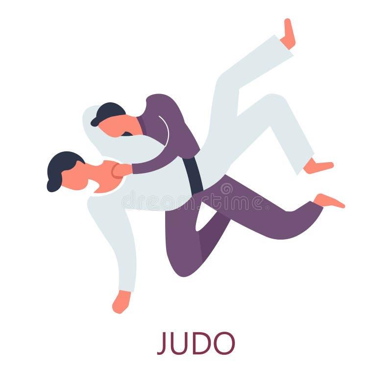 Judo che combatte attacco e la difesa giapponesi di sport illustrazione di stock