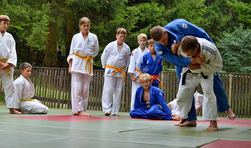 Judo coach. A judo coach demonstrating a judo throwing maneuver to his pupils at the summer camp
