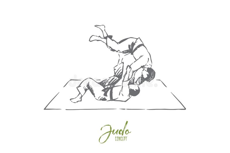 Judo, eastern martial arts, karate sparring, fighting competition, championship match, self defence exercise. Single combat practice, sport training concept vector illustration