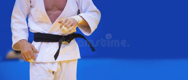 Judo fighter ställer upp i vit kimono med svart bälte Japanska judo och jiu jitsu arkivfoton