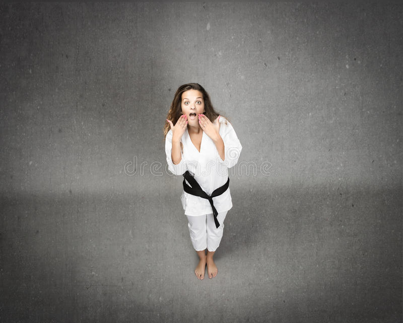 Judo girl unbelievable face. Expression and emotions for people stock photos
